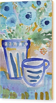Cups And Flowers-  Watercolor Floral Painting Wood Print by Linda Woods