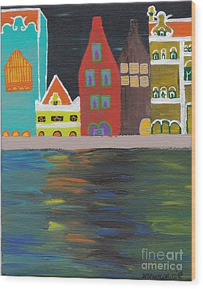 Curacao Nights Wood Print by Melissa Vijay Bharwani