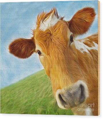 Curious Cow Wood Print by Jo Collins