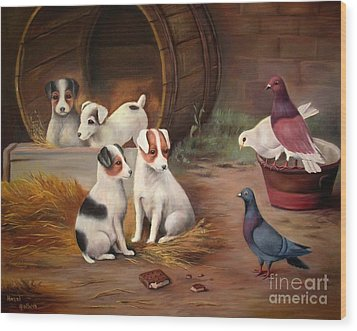 Wood Print featuring the painting Curious Friends by Hazel Holland