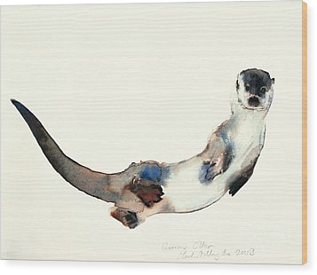 Curious Otter Wood Print by Mark Adlington