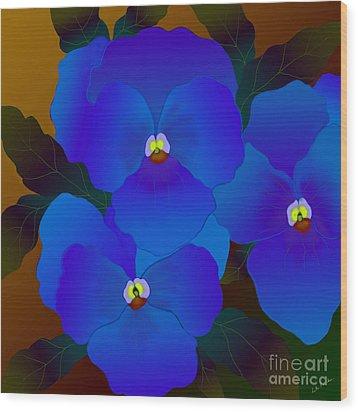 Wood Print featuring the digital art Curious Pansies by Latha Gokuldas Panicker