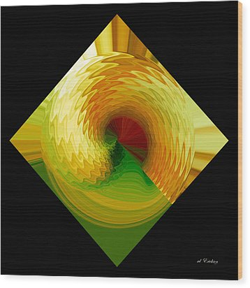 Wood Print featuring the digital art Curl I In Green And Gold by Roy Erickson