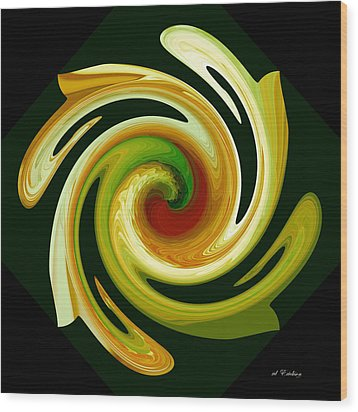 Wood Print featuring the digital art Curl II In Green And Gold by Roy Erickson