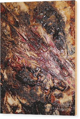 Wood Print featuring the painting Curl Up And Dye by Lucy Matta