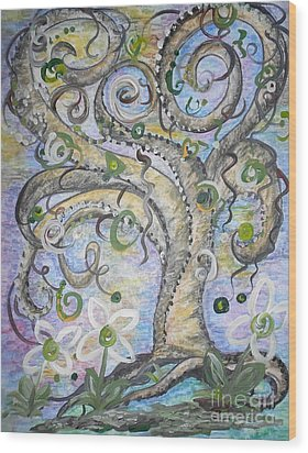 Curly Tree In Fantasy Land Wood Print by Eloise Schneider