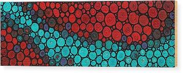 Currents - Red Aqua Art By Sharon Cummings Wood Print by Sharon Cummings