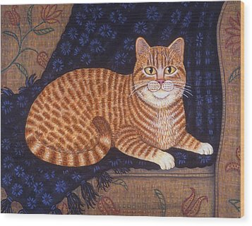 Curry The Cat Wood Print by Linda Mears