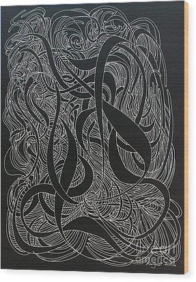 Cursive Curious 2 Wood Print by Nancy Kane Chapman