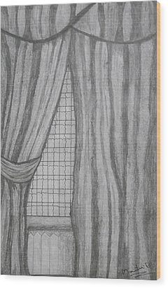 Wood Print featuring the drawing Curtains In A5 by Martin Blakeley
