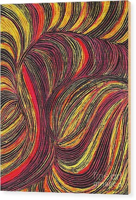 Curved Lines 3 Wood Print by Sarah Loft