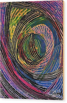 Curved Lines 6 Wood Print by Sarah Loft
