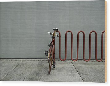 Wood Print featuring the photograph Curved Rack In Red - Urban Parking Stalls by Steven Milner