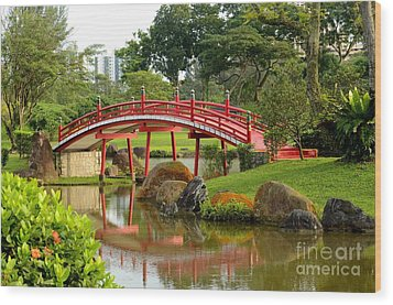 Wood Print featuring the photograph Curved Red Japanese Bridge And Stream Chinese Gardens Singapore by Imran Ahmed
