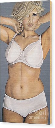 Wood Print featuring the painting Curvy Beauties - Beautiful Blonde by Malinda  Prudhomme