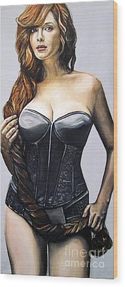 Wood Print featuring the painting Curvy Beauties - Christina Hendricks by Malinda  Prudhomme