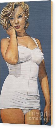 Curvy Beauties - Marilyn Monroe Wood Print by Malinda  Prudhomme