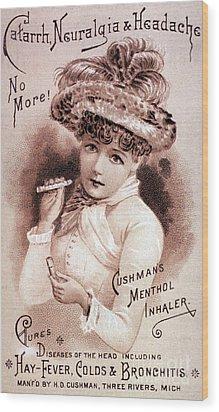 Cushmans Menthol Inhaler-headache Cure Wood Print by Science Source