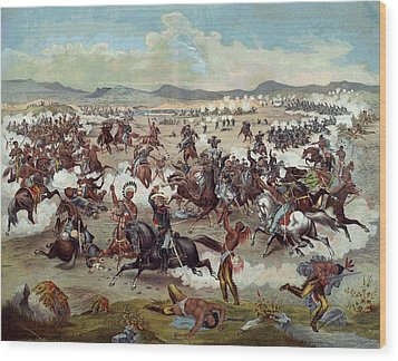 Custer's Last Charge Wood Print by Unknown