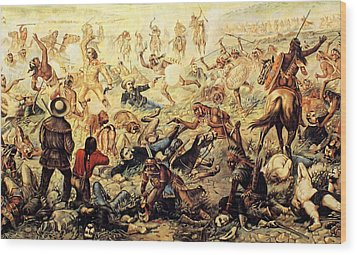 Custer's Last Fight Detail Wood Print by Unknown