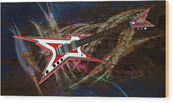 Custom Guitar  Wood Print by Louis Ferreira