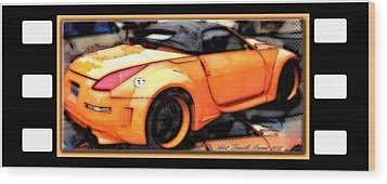 Custom Orange Sports Car Wood Print by Danielle  Parent