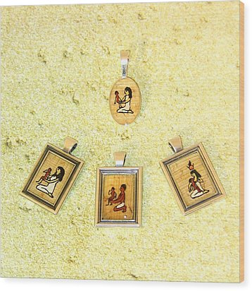 Custom Parent's Amulet Egyptian Papyrus Necklace Wood Print by Pet Serrano