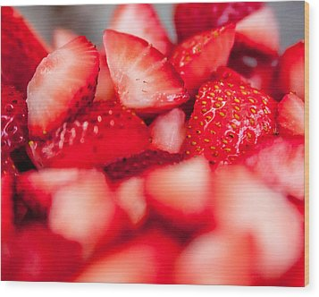 Cut Strawberries Wood Print