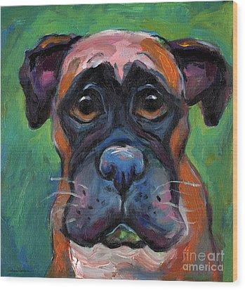 Cute Boxer Puppy Dog With Big Eyes Painting Wood Print by Svetlana Novikova