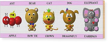 Cute Critters With Heart A To E In Pink Wood Print by Rose Santuci-Sofranko