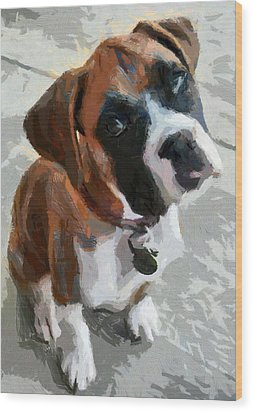 Wood Print featuring the painting Cute Dog by Georgi Dimitrov