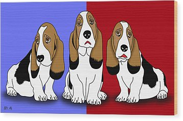 Cute Dogs 2 Wood Print by Mark Ashkenazi