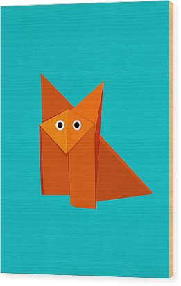Cute Origami Fox Wood Print