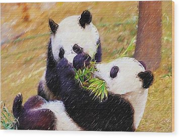 Wood Print featuring the painting Cute Pandas Play Together by Lanjee Chee