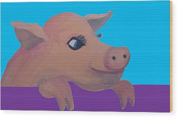 Cute Pig 1 Wood Print by Cherie Sexsmith