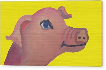 Cute Pig On Yellow Wood Print by Cherie Sexsmith