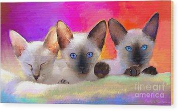 Cute Siamese Kittens Cats  Wood Print by Svetlana Novikova