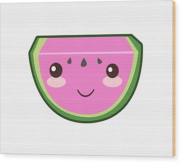 Cute Watermelon Illustration Wood Print by Pati Photography