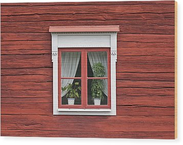 Cute Window On Red Wall Wood Print