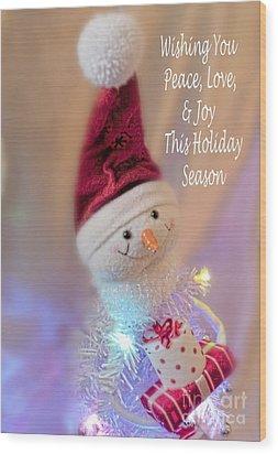 Cutest Snowman Christmas Card Wood Print by Janie Johnson