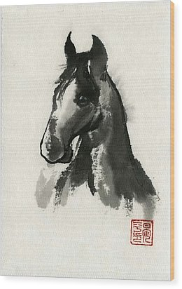 Wood Print featuring the painting Cutie by Ping Yan