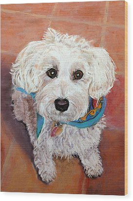Wood Print featuring the pastel Cutie With Bandana by Julie Maas