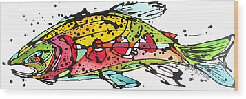 Wood Print featuring the painting Cutthroat Trout by Nicole Gaitan