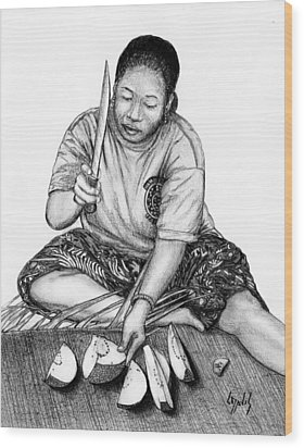 Wood Print featuring the drawing Cutting Breadfruit by Lew Davis
