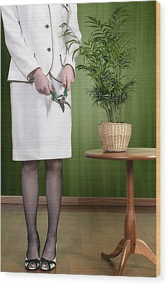 Cutting Plant Wood Print by Joana Kruse