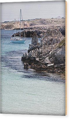 In Cala Pudent Menorca The Cutting Rocks In Contrast With Turquoise Sea Show Us An Awsome Place Wood Print