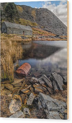 Cwmorthin Slate Quarry Wood Print by Adrian Evans