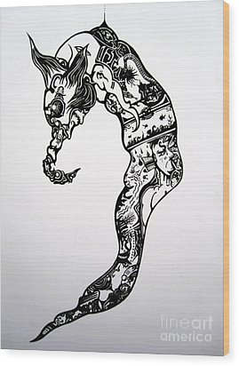 Wood Print featuring the drawing Cyberworm by Devin  Cogger