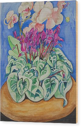 Cyclamen And Orchids In A Flower Pot Wood Print by Esther Newman-Cohen