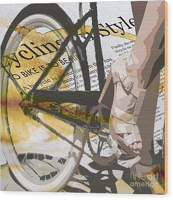 Cycle Chic Wood Print by Sassan Filsoof